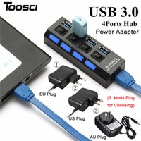 4 Port USB 3.0 HUB com adaptador de alimentação US / EU / AU High Speed ​​1000Mbps Hub USB Splitter com cabo de ligar / desligar para PC Laptop