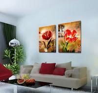 art de toile de tulipe achat en gros de-Impression Giclée Sur Toile Mur Art Tulipe Fleur Contemporain Abstrait Peinture Florale Décor À La Maison Set20003