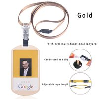 Wholesale Id Badge Case Metal - New Arrival Top Grade Magnesium Alloy Cards Holder Vertical Business Work Badge Holder Employee ID Card with Lanyard Case For Admission Card
