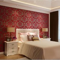 Wholesale Romantic European Velvet D Background Wallpaper Red Living Room Wall paper Floral Wallcovering Roll Bedroom Wallpaper WP007