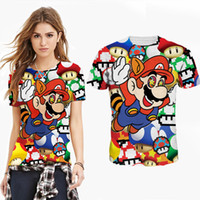 Wholesale Shirt 3d Mario - 2016 new fashion woman man Cartoon Mario Classic 3D print Casual T-shirt club party shirt golf baseball football yoga basic tee short sleeve