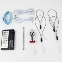 Wholesale Electro Stimulation Sex Kit - ElectroSex Gear Sex kit Electric Shock Silicone Penis Rings Anal Plug Medical Themed Sex Toys Kit Electro Stimulation For Male Sex Products