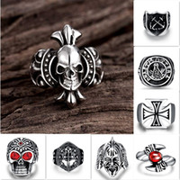 Wholesale Accessories Pharaohs - SteamPunk Gothic Rings Red Stone Eye Skull Stainless Steel Biker Punk Hip Hop Jewelry Cuban King Tut Pharaoh Halloween Gift Accessories Mix