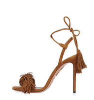Wholesale Tan Stiletto Shoes - 2016 new free shipping Genuine leather AQUAZZURA Tassel Fringe Suede Women Sandals Lace Up Ankle Strappy High Heels Prom Wedding Shoes Woma