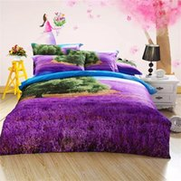 Wholesale egyptian cotton bedding sets purple - 2016 New Design 5D Oil Painting Purple Lavender Printed Queen Size 100% Egyptian Cotton Bedding Set Duvet Cover Set