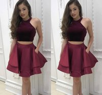 Wholesale Cocktail Dresses Short Beaded Halter - 2018 New Simple Two Piece Burgundy Short Homecoming Dresses Halter Neck Cap Sleeves Pleats A-line Satin Graduation Sexy Cocktail Party Gowns