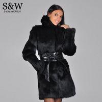 Wholesale Mink Fur Black Coats Women - Wholesale-Winter Women's Faux Rabbit Fur Coat Hooded Thick Warm Ladies Long Parka Jacket Black Synthetic Mink Fur Coat With Fox Fur Hood