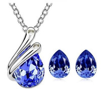 Wholesale Dark Blue Necklace Gold - Fashion 18K White Gold Plated Water Drop Crystal Necklace Earrings Jewelry Sets for Women Made With Swarovski Elements Wedding Jewelry Set