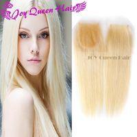Wholesale Russian Parts - Natural Brazilian hair Blonde Lace Frontal Closure European Russian Peruvian 613 Straight Frontal silk Base lace closure human hair weaves