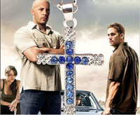 Wholesale Dominic Toretto Silver - alloy punk Fast and Furious necklace Dominic Toretto same paragraph Studded with full blue rhinestone Cross pendant necklace man 2017 x191