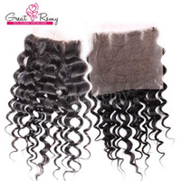 Wholesale Brazilian Knot Hair Extension - 100% Brazilian Three Part Top Lace Closure Water Wave Human Hair Extensions Big Curly Bleached Knot Closure Weave Natural Color
