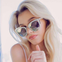 Wholesale Girl Fashion Celebrity - fashion pink silver cat eye sunglasses female brand mirror sun glasses for women 2017 quay style celebrity favorite cateye glass my girl