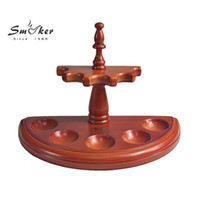Wholesale Pipe Seat - Wholesale-Smoker 5 Seats Rosewood Smoking Pipe Holder High Quality Wooden Pipe Stander Disassembled Tobacco Pipe Rack