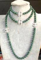 jade grüner silber ring großhandel-2016 heißer kauf perle jade armband ring ohrring halskette Anhänger NEUE Top Lange schöne 8mm Malachitgrün shell perlenkette 50