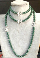 Wholesale beautiful ring new for sale - Group buy 2016 hot buy pearl jade bracelet ring earring necklace Pendant gt gt gt NEW Top Long beautiful mm Malachite green shell pearl necklace quot