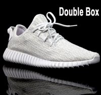 Wholesale Table Tennis Keychain - Wailly Double Box 1:1 quality 350 Boost Shoes Oxford Tan Kanye Milan West Boost 350 Pirate Black with sock,keychain US13
