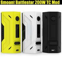 электронная сигарета ss mod оптовых-Аутентичные Smoant Battlestar 200W TC Mod Dual 18650 Батарея Vapor Mods для RX200S RX2 3 Ni Ti SS NC Mobula 25 мм RTA распылитель е сигареты DHL