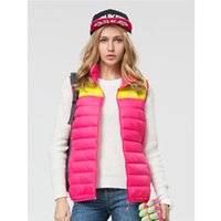 Wholesale Female Ski Jackets - Wholesale-Women Brand Outdoor Thermal White Duck Down Vest Waterproof Coat Hiking Camping Trekking Ski Female Sleeveless Jackets VB011