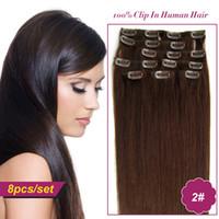 Wholesale Darkest Brown Clip Hair Extensions - Wholesale-2# Darkest Brown Brazilian Hair Clip In Extensions 8pc set Human Extensions Clip In Extension For African American Black Women