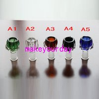 Wholesale Glass For Pictures - Real Picture Male and Female smoking accessory 18mm 14mm glass bowl for bongs Assorted Glass Bowl Handle Water Smoking Accessory bong Bowls
