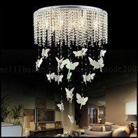 Wholesale European Light Switch - European Round Crystal Lamp Princess Angel Butterfly Chandelier Pendant Lights Lighting For Living Room Ceiling Lamp Bedroom Children's Room