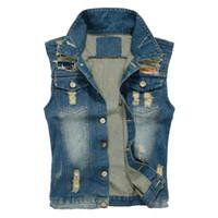 Wholesale Mens Cowboy Jackets - Fall-2016 Jean Jacket Mens Denim Vest Plus Size 5XL Jeans Waistcoat Men Cowboy Brand Sleeveless Jacket Male Tank Top J653