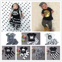 Wholesale Light Yellow Colour - 2016 New Summer Baby Clothing Set 14 Colors Cartoon Monster Fox Printing t Shirt & Pants 2pcs Infant Clothes Set For Newborn Baby