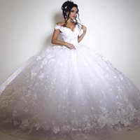 Wholesale Celebrity Wedding Ball Gowns - 2K16 Sexy Off Shoulder White Lace Wedding Dresses 2016 Ball Gown V Neck Appliqued Sexy Backless Floor Length Bridal Party Celebrity Gowns
