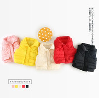 Wholesale candies vest - INS new styles turn down collar candy color warm winter girl vest very warm cotton winter girl kids waistcoat winter outwear coat