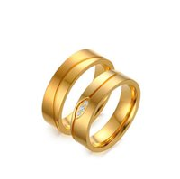 Wholesale Ring Gold Married - New products listed Stainless steel cubic zirconia gold color get married couple rings free shipping