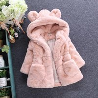 Wholesale Ear Fur Coats - Children faux fur coat winter new baby girls cute ear hooded Faux fur coat kids fleece thicken warm outwear children cartoon coat