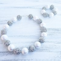 Wholesale Girls Pearls Chunky Necklace - White Pearl beads Silver Color Rhinestone beads Chunky Kids Necklace girl chunky necklace&Bracelet SetCB808