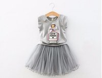 Wholesale Children Perfume Wholesale - 2016 Summer New Fashion Girls Clothing Sets Kids Bow Elegant Perfume Bottles T shirt + Gauze Skirt Suits Children Clothes Set