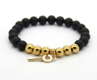 Wholesale Matte Black Onyx Beads Wholesale - 8mm Real Matte Onyx Beads with Real Gold Plated Beonze Beads and Key pendant Bracelet, Women Stone Jewelry