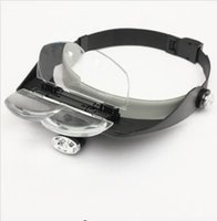 Wholesale Head Magnifier Led - 4 Lens Headband LED Head Light Magnifier Magnifying Glass Loupe