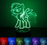 ingrosso regali arcobaleno per i bambini-3D Cartoon Rainbow Dash LED Night Light Art Fashion Lamp 7 Colorful cambio USB Charger Desk regalo di Natale Kids 'Cartoon Toy Min Order1PCS