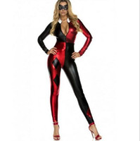 Wholesale Clown Custom - Hot Sexy suicide squad cosplay SuperGirl Harley Quinn Zentai Costumes Halloween party Buffoon Clown Customs made Bodysuit