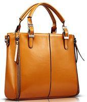 Wholesale Ladies Office Totes - Elegant Fashion Women Handbag High quality PU Leather Handbag Brown Women Bag Vintage Messenger Bag Office Lady Briefcase
