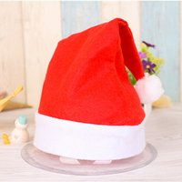 Wholesale Santa Hats For Kids - Red Christmas Cap Santa Claus Easter Christmas Night Party Hat Cap For Adult Kids Size Santa Xmas Hat