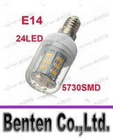 E14 LED Light Quente branco / branco SMD 5730 24LED 9W Spotlight Lâmpada do bulbo milho luz LED smd5730 Energy Saving AC220-240V LLFA192