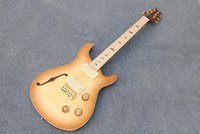 Wholesale Electric Guitar Amber - Whole sale & retail P electric guitar hollow boyd with F hole,amber yellow burst color tigerflame body top & back,GOLD parts!