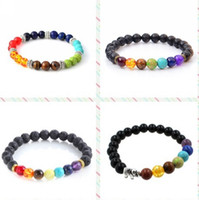 Wholesale Beads Elephant Bracelet - Natural Agate Stone 7 Chakra Bracelets Antique Silver Charm Elephant Bracelete Feminino Yoga Prayer Bead Bracelets for Men Women
