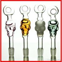 Wholesale Tube Blown Glass - 2016 new arrival skull glass oil burner pipe mini smoking pipe blown glass handle tube oil burner free shipping SW05