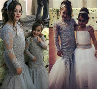 Wholesale floor length sequin rhinestone pageant dress resale online - Shinning Light Gray Lace Mermaid Flower Girl Dresses For Wedding Sequins Beaded Long Sleeves Girls Pageant Gowns Children Party Dresses
