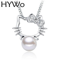 Wholesale Unique Pearl Jewelry - HYWo (without chain) unique design Kitty 925 sterling silver CZ pendant pearl necklace Hypoallergenic jewelry gift for women