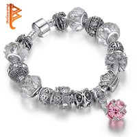 Wholesale Antique Glass Beads Wholesale - BELAWANG Antique Silver Plated Pink Crystal Pendant Beads Bracelets&Bangles DIY Jewelry European White Murano Glass Beads Charm Bracelets