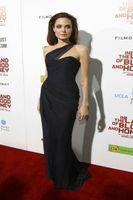 zarif seksi üniforma elbise toptan satış-2019 Yeni Angelina Jolie Siyah Halı Elbise Zarif Bir Omuz Ünlü Elbisesi Kadınlar için Kolsuz Abiye Gerçek Görüntü