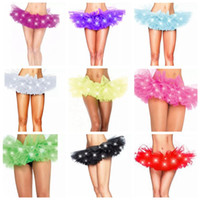 Wholesale Mini Skirt Colors - 11 Colors LED Adult Dance Performance Skirt Tutu Skirts Up Neon Fancy Solid Color Fancy Costume Light Mini Tutu Skirts CCA8102 30pcs