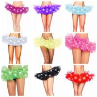 ışıklı tutuş toptan satış-11 Renkler LED Yetişkin Dans Performansı Etek Tutu Etekler Up Neon Fantezi Katı Renk Fantezi Kostüm Işık Mini Tutu Etekler CCA8102 30 adet