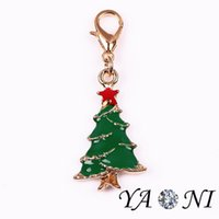Wholesale Gold Charm Christmas Tree - Enamel Alloy Christmas Tree Floating Locket Charm DIY Floating Charm with Lobster Clasp for Living Memory Glass Locket